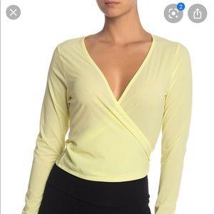 Women's Yellow Tissue Weave Wrap Top